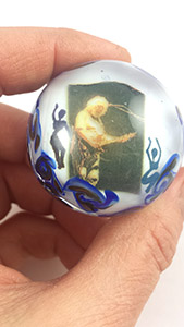 Jerry Garcia glass marble orb dead head art